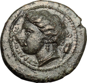 obverse: Sicily. Syracuse. Agathokles (317-289 B.C.).  AE 18mm, circa 317-310 BC. Obv. Wreathed head of Kore left; behind, ear of corn. Rev. Bull butting left; above, dolphin; in exergue, ΣΑ. CNS III, 101. AE. g. 3.61  mm. 18.00    EF.