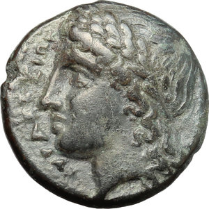 obverse: Sicily. Syracuse. Agathokles, 2nd period (c. 310-305 BC).  AE 18mm. Obv. ΣYPAKOΣIΩN. Head of Apollo left. Rev. Pegasos flying left. SNG ANS 644-63. AE. g. 5.48  mm. 18.00    VF.