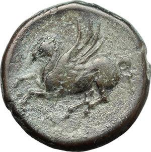 reverse: Sicily. Syracuse. Agathokles, 2nd period (c. 310-305 BC).  AE 18mm. Obv. ΣYPAKOΣIΩN. Head of Apollo left. Rev. Pegasos flying left. SNG ANS 644-63. AE. g. 5.48  mm. 18.00    VF.