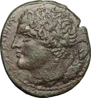 obverse: Sicily. Syracuse. Hiketas (287-278 B.C.).  AE unit. Obv. Head of Zeus left. Rev. Eagle to left. CNS II, 154 var (Obv/ behind head, symbol). AE. g. 9.00  mm. 26.00    VF.