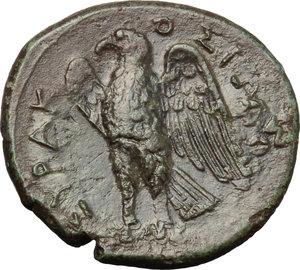 reverse: Sicily. Syracuse. Hiketas (287-278 B.C.).  AE unit. Obv. Head of Zeus left. Rev. Eagle to left. CNS II, 154 var (Obv/ behind head, symbol). AE. g. 9.00  mm. 26.00    VF.