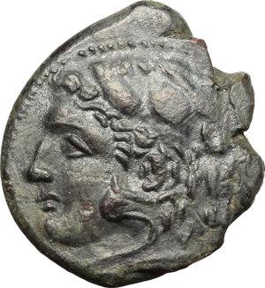 obverse: Sicily. Syracuse. Pyrrhos (278-276 B.C.).  AE unit. Obv. Head of Herakles left wearing lion skin. Rev. Athena Promachos right. CNS II, 177. AE. g. 8.85  mm. 25.00    EF/VF.