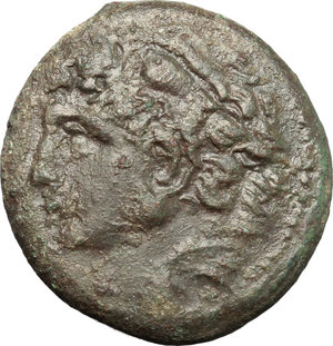 obverse: Sicily. Syracuse. Pyrrhos (278-276 B.C.).  AE unit. Obv. Head of Herakles left wearing lion skin. Rev. Athena Promachos right. CNS II, 176. AE. g. 9.61  mm. 23.00    VF.