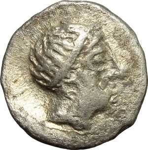 obverse: Greece. Paeonia. The Agriones (?) in Southern Bulgaria.  Celtic imitation of AR Tetrobol of Patraos, king of Paeonia (c. 335-315 BC). Obv. Crude laureate head of Apollo right. Rev. ΠA[T]-OΛ[T]. Eagle standing right. BMC I, cf. S 183 (an imitative drachm of the same issue). OTA-. Lanz-. AR. g. 1.67  mm. 13.00  RRR. Extremely rare. Minor encrustation on reverse. VF. Apparently the second specimen known: cf. LHS NUMISMATIK AG, Auction 95, lot 422 (estimate CHF 500).