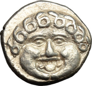 obverse: Greece. Thrace, Apollonia Pontika.   AR Drachm, mid-late 4th century BC. Obv. Facing head of Medusa. Rev. Anchor. A to left, crayfish to rignt. SNG BM Black-Sea 160.1. AR. g. 2.87  mm. 13.00   A very attractive example. About EF/EF.
