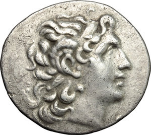 obverse: Greece. Kings of Thrace. Lysimachos (305-281 BC).  AR Tetradrachm, Byzantion mint, in the name and types of Lysimachos. Obv. Diademed head of deified Alexander right, with horn of Ammon.   AR. g. 16.60     VF.