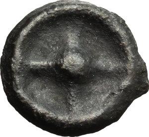 obverse: Greece. Moesia, Istros.   AE Wheel coin, late 5th century. Obv. Wheel (or solar disk). Rev. IΣT. SNG Black Sea 223-224. AE. g. 1.10  mm. 13.00    VF.