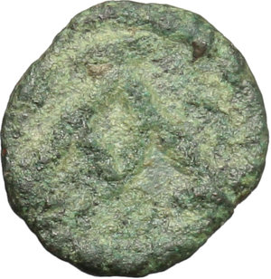 R/ Vandals. Hilderic (523-530).  AE Nummus, uncertain mint, struck in the name of Justinian I. Obv. Diademed, draped and cuirassed bust right. Rev. A monogram. BMC 141-8. Wroth pl. IV, 21. AE. g. 0.41  mm. 9.00  RR. Very rare. Encrustation on obverse. About F/About VF. This Vandalic issue copies the Justinian's nummi from Thessalonica.