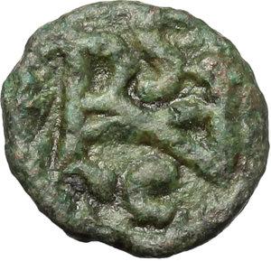R/ Ostrogothic Italy, Athalaric (526-534).  AE Nummus, Rome mint. Obv. [IVSTINIAN] Pearl-diademed, draped and cuirassed bust right. Rev. Athalaricus monogram within wreath. COI 88 (2½ nummi). MIB 80. Morello 27. AE. g. 0.84  mm. 9.50  R. Rare. Dark green patina. F/Good VF.