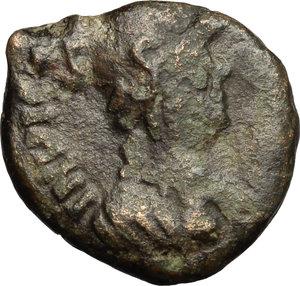 obverse: Ostrogothic Italy, Theodahad (534-536).  AE Decanummium, Rome mint. Obv. INVIC[TA ROMA]. Helmeted and cuirassed bust of Roma right. Rev. DN/THEODI (sic)/ HITHVS (sic)/ RIX in four lines; all within wreath. Ranieri 290-292 (Ravenna) var. (reverse legend). MIB 82 var (same). Wroth 16 var. (same). AE. g. 4.43  mm. 17.50  R.  F/About VF.
