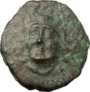obverse: Greece. Thessaly, Euraia.   AE Trichalkon, c. 352-344 BC. Obv. Head of nymph facing slighly left, with grape bunch in hair, wearing earring and necklace. Rev. EYPEAIΩN. Grape bunch and leaves of vine. Cf. Rogers 211; BCD Thessaly II 67.2. AE. g. 6.71  mm. 22.00  R.  VF. A rare and fascinating coin.