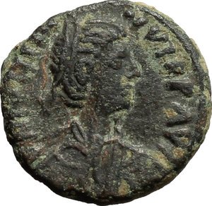 obverse: Justinian I (527-565).  AE Pentanummium, Rome mint. Obv. Diademed, draped and cuirassed bust right. Rev. Large V within wreath. D.O. 327. R. 729. Sear 309. AE. g. 1.84  mm. 12.00   Green brown patina. Good VF/About EF.