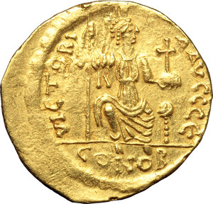 reverse: Justin II (565-578).  AV Solidus, Constantinople mint. Obv. DN IVSTINVS PP AVI. Helmeted and cuirassed bust facing, beardless, holding globe surmounted by Victory and shield. Rev. VICTORIA AVGGG Є . Constantinopolis seated facing, head right, holding spear and globus cruciger; in exergue, CONOB. D.O. 4. Sear 345. AV. g. 4.29  mm. 20.00   Minor area of flatness on obverse, otherwise about EF.