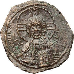 obverse: Basil II and Constantine VIII (976-1025).  AE Anonymous Follis (Class A 2). Constantinople mint. Obv. Bust of Christ facing, wearing nimbus, pallium and colobium and holding book of Gospels with both hands. Rev. Legend in four lines. DOC Class A2. Sear 1813. AE. g. 10.20  mm. 27.00   An outstanding example, in exceptional condition for issue. Glossy brown tone. EF.