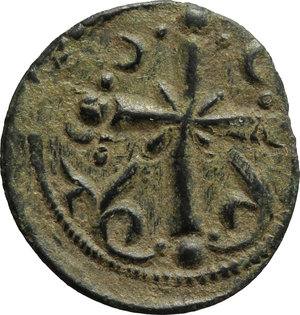 reverse: Nicephorus III, Botaniates (1078-1081).  AE Anonymous Follis. Obv. Bust of Christ facing. Rev. Latin cross with X at centre; in lower field, on either side, floral ornament. D.O. pp. 696-9. Sear 1889. AE. g. 3.64  mm. 23.00   Nice dark green patina with ligther deposits. VF.