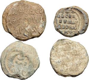 reverse: Lead Seals.  Multiple lot of four (4) unclassified PB Seals.    PB.     mm. 24, g.11,93; mm. 22, g. 8,83; mm. 21, g. 11,12; mm. 18, g. 6,87. Interesting types. Good VF:VF.