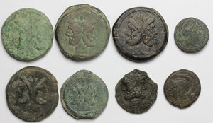D/ Roman Republic.  Multiple lot of eight (8) unclassified AE coins (including 6 Asses).    AE.      VF.