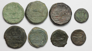 R/ Roman Republic.  Multiple lot of eight (8) unclassified AE coins (including 6 Asses).    AE.      VF.
