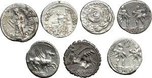 Roman Republic.  Multiple lot of seven (7) unclassified AR Denarii.    AR.      VF.