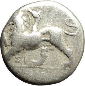 obverse: Greece. Sikyonia, Sikyon.   AR Triobol, c. 330-280 BC. Obv. Chimaera standing left, raising forepaw; below, ΣI. Rev. Dove flying left. SNG Cop. 57. BCD Peloponnesos 283-4. AR. g. 2.65  mm. 15.00    VF.