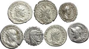 D/ Roman Republic to Empire.  Multiple lot of seven (7) unclassified AR coins (3 Denari + 4 Antoniniani).    AR.      VF.
