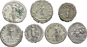 R/ Roman Republic to Empire.  Multiple lot of seven (7) unclassified AR coins (3 Denari + 4 Antoniniani).    AR.      VF.