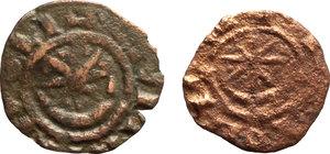 D/ Tripoli.  Lotto di 2 monete in AE: CIVITAS TRIPOLIS, circa 1118-1200.     AE.