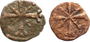R/ Tripoli.  Lotto di 2 monete in AE: CIVITAS TRIPOLIS, circa 1118-1200.     AE.