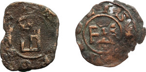 R/ Tripoli.  Lotto di 2 monete in AE, circa 1200.     AE.