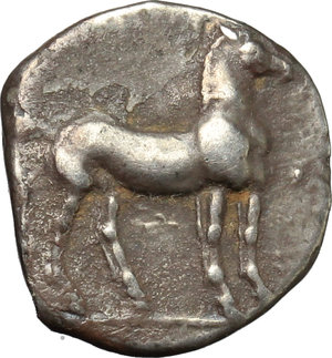 reverse: Africa. Zeugitania, Carthage.   AR Quarter Sheqel or Hemidracm. Second Punic War. 220-210 BC. Obv. Head of Tanit left. Rev. Horse standing right. Müller II, 88, 90. AR. g. 1.74  mm. 13.00    About EF. Very attractive patina.