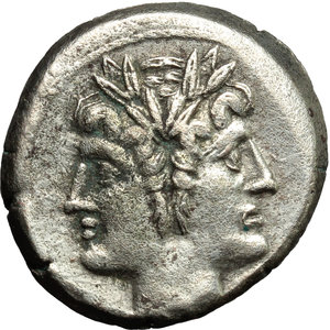 obverse: Anonymous.  AR Debased Quadrigatus, c. 225-214 BC. Obv. Laureate Janiform head of Dioscuri. Rev. Jupiter, holding sceptre and hurling thunderbolt, in fast quadriga right, driven by Victory; below, [ROMA]. Cr. 28/3. AR. g. 5.59  mm. 19.00   Lightly toned. Good VF/VF.