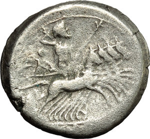 reverse: Anonymous.  AR Debased Quadrigatus, c. 225-214 BC. Obv. Laureate Janiform head of Dioscuri. Rev. Jupiter, holding sceptre and hurling thunderbolt, in fast quadriga right, driven by Victory; below, [ROMA]. Cr. 28/3. AR. g. 5.59  mm. 19.00   Lightly toned. Good VF/VF.