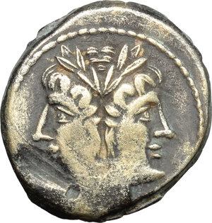 obverse: Anonymous.  AR Debased Quadrigatus, 225-215 BC. Obv. Laureate head of Janus. Rev. Jupiter in quadriga driven by Victory right; below, ROMA in relief in linear frame. Cr. 28/3. Syd. 68. AR. g. 5.36  mm. 20.00   Toned, with golden hues. Areas of flatness, otherwise VF.