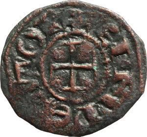 Messina. Enrico VI (1194-1197). Denaro, a nome di Enrico e Costanza.    Sp. 27/29. MIR 55. AE. g. 1.07  mm. 18.00   Modulo largo. BB.