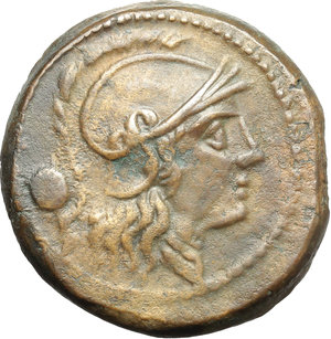 obverse: Anonymous post semilibral series.  AE Uncia, c. 215-212 BC. Obv. Head of Roma right, wearing Attic helmet; behind, pellet. Rev. ROMA. Prow right; below, pellet. Cr. 41/10. AE. g. 8.72  mm. 21.50   A very nice example. Interesting die break on reverse. Lovely light brown patina. Good VF.