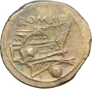 reverse: Anonymous post semilibral series.  AE Uncia, c. 215-212 BC. Obv. Head of Roma right, wearing Attic helmet; behind, pellet. Rev. ROMA. Prow right; below, pellet. Cr. 41/10. AE. g. 8.72  mm. 21.50   A very nice example. Interesting die break on reverse. Lovely light brown patina. Good VF.