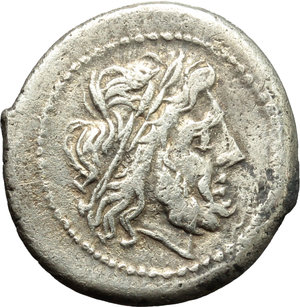 obverse: Anonymous.  AR Victoriatus, from 211 BC. Obv. Laureate head of Jupiter right. Rev. Victory right crowning trophy; in exergue, ROMA. Cr. 44/1. AR. g. 3.03  mm. 18.00   Broad flan. Prettily toned. Good VF.