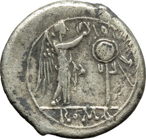 reverse: Anonymous.  AR Victoriatus, from 211 BC. Obv. Laureate head of Jupiter right. Rev. Victory right crowning trophy; in exergue, ROMA. Cr. 44/1. AR. g. 3.03  mm. 18.00   Broad flan. Prettily toned. Good VF.