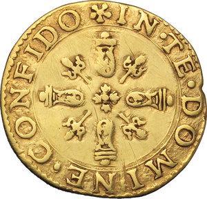 Mirandola. Ludovico II Pico (1550-1568). Scudo d oro del sole.    CNI 6/7  MIR 501. AU. g. 3.10    Lucidata qBB/BB.