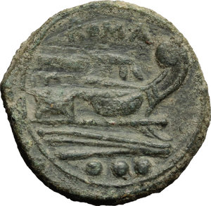 reverse: Anonymous Sextantal series.  AE Quadrans, after 211 BC. Obv. Head of Hercules right; behind, three pellets. Rev. Prow right; above, ROMA; below, three pellets. Cr. 56/5. AE. g. 5.83  mm. 20.00   A pleasant example. Nice earthen olive-green patina. VF/Good VF.