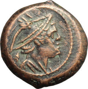 obverse: Anonymous sextantal series.  AE Semuncia, after 211 BC. Obv. Bust of Mercury right. Rev. ROMA. Prow right. Cr. 56/8. AE. g. 3.72  mm. 15.00   Nice reddish surfaces. Good VF.