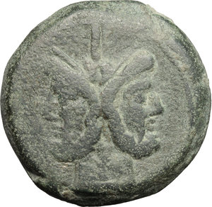 obverse: Victory (?) series.  AE As, c. 211-208 BC, Central Italy. Obv. Laureate head of Janus; above, mark of value I. Rev. Prow right; above, Victory with wreath and mark of value I; below, ROMA. Cr. 61/2. AE. g. 50.85  mm. 36.00   A very attractive example, of full weight. Olive-green patina. VF.