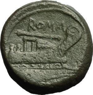 reverse: Staff series.  AE Quadrans. c. 206-195 BC. Obv. Head of Hercules right; behind, three pellets. Rev. Prow right; above, ROMA/staff; below, [three pellets]. Cr. 112/6 b. AE. g. 8.45  mm. 21.00  RR. Very rare. Dark green patina VF/Good VF.