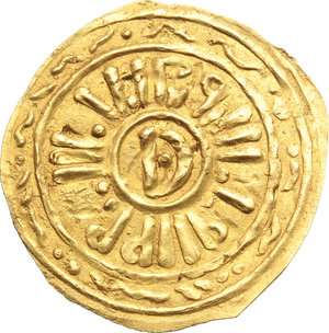 Salerno. Ruggero Borsa (1086-1111). Tarì.    MEC XIV, 102. Cappelli 62 (Roberto Guiscardo). AU. g. 0.98  mm. 21.00  RRR.  SPL.