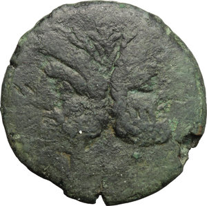 obverse: PT or TP series.  AE As, c. 169-158 BC. Obv. Laureate head of Janus; above, I. Rev. Prow right; above, PT ligate; before, I; below, ROMA. Cr. 177/1. AE. g. 19.86  mm. 30.50   Dark green patina. VF.