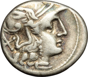 obverse: Furius Purpurio.  AR Denarius, 169-158 BC. Obv. Helmeted head of Roma right; behind, X. Rev. Luna in biga right; murex shell above, PVR below; in exergue, ROMA in linear frame. Cr. 187/1. B. 13. AR. g. 3.88  mm. 18.00   Prettily toned with iridescent hues. VF.