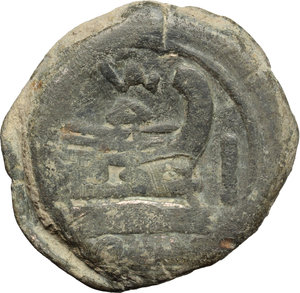 reverse: Valerius (?).  AE As, c. 169-158 BC. Obv. Laureate head of Janus; above, I. Rev. Prow right; above, VAL ligate; before, I; below, ROMA. Cr. 191/1. B. (Valeria) 1. AE. g. 34.78  mm. 34.00   Earthen dark green patina. About VF/VF. Exceptionally overweight.