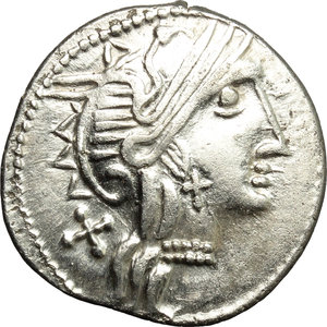 obverse: C. Thalna.  AR Denarius, after 154 BC. Celtic imitation, uncertain Tribe, Eastern Europe. Obv. Helmeted head of Roma right; behind, X. Rev. Victory in biga right; below, C. TALN ligate; in exergue, ROMA. Davis A, Ib. For prototype: Cr. 202/1a. AR. g. 3.79  mm. 20.00  R. Rare and very interesting, perfectly struck in sound metal and perfectly centred on a broad flan. Flatness on reverse. EF/VF.