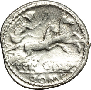 reverse: C. Thalna.  AR Denarius, after 154 BC. Celtic imitation, uncertain Tribe, Eastern Europe. Obv. Helmeted head of Roma right; behind, X. Rev. Victory in biga right; below, C. TALN ligate; in exergue, ROMA. Davis A, Ib. For prototype: Cr. 202/1a. AR. g. 3.79  mm. 20.00  R. Rare and very interesting, perfectly struck in sound metal and perfectly centred on a broad flan. Flatness on reverse. EF/VF.