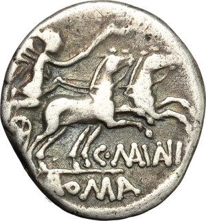 reverse: C. Maianius.  AR Denarius, 152 AD. Obv. Head of Roma right, X behind. Rev. Victory in biga right; C.MAIANI below horses,  ROMA in exergue. Cr. 203/1a. AR. g. 3.48  mm. 18.00   Old cabinet tone VF.